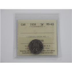 CAN 1958 5c MS-65. ICCS.