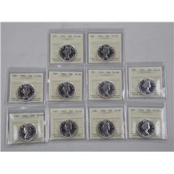 (GE827) 10x 1964 Canada 50 Cent Proof Like/66 - IC