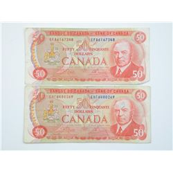 2x 1975 Bank of Canada $50.00 RCMP.