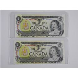 2x Bank of Canada 1975 $1.00 UNC- Choice UNC