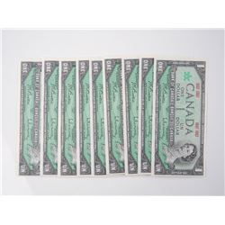 9x Bank of Canada 1867-1967 $1 - Green Seal, UNC.