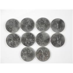 10x Canada Silver 25 Cents 1930's and 40's.
