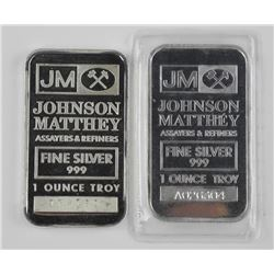 2x Johnson Matthey - Fine Silver 1oz Bar. Serial N