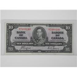 1937 Bank of Canada Ten Dollar Note. C/T