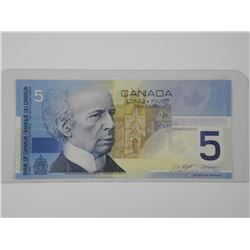 2002 - Bank of Canada Five Dollar Note. UNC Radar.