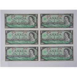 6x 1867-1867 Bank of Canada One Dollar. UNC