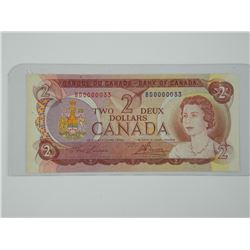 1974 Bank of Canada Two Dollar Note. UNC. Scarce.