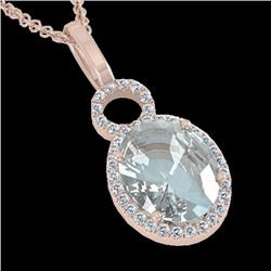 3 CTW Aquamarine & Micro Pave Halo VS/SI Diamond Necklace 14K Rose Gold - REF-61A8X - 22754