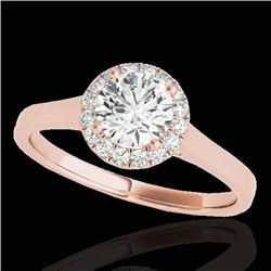 1.11 CTW H-SI/I Certified Diamond Solitaire Halo Ring 10K Rose Gold - REF-167N3Y - 33815