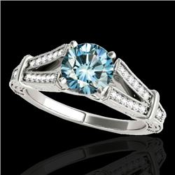 1.25 CTW Si Certified Blue Diamond Solitaire Antique Ring 10K White Gold - REF-172K8W - 34662