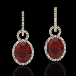 8 CTW Garnet & Micro Pave Solitaire Halo VS/SI Diamond Earrings 14K Yellow Gold - REF-100A2X - 22738