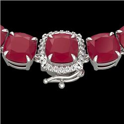 116 CTW Ruby & VS/SI Diamond Halo Micro Eternity Necklace 14K White Gold - REF-467H3A - 23359