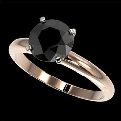 2 CTW Fancy Black VS Diamond Solitaire Engagement Ring 10K Rose Gold - REF-54A2X - 32936