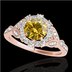 1.5 CTW Certified Si/I Fancy Intense Yellow Diamond Solitaire Halo Ring 10K Rose Gold - REF-174F5N -
