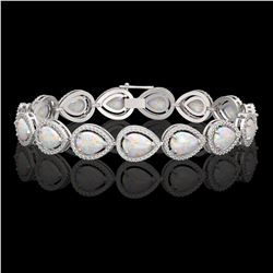 17.15 CTW Opal & Diamond Halo Bracelet 10K White Gold - REF-321Y6K - 41249