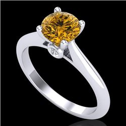 1.08 CTW Intense Fancy Yellow Diamond Engagement Art Deco Ring 18K White Gold - REF-236F4N - 38204