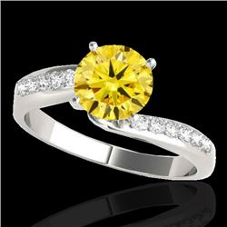1.4 CTW Certified Si Fancy Yellow Diamond Bypass Solitaire Ring 10K White Gold - REF-180N2Y - 35079