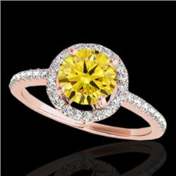 1.4 CTW Certified Si/I Fancy Intense Yellow Diamond Solitaire Halo Ring 10K Rose Gold - REF-254Y5K -