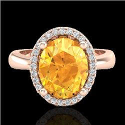 2.50 CTW Citrine And Micro Pave VS/SI Diamond Ring Halo 14K Rose Gold - REF-38F9N - 21100
