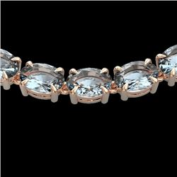 45 CTW Aquamarine Eternity Designer Inspired Tennis Necklace 14K Rose Gold - REF-418Y5K - 23399