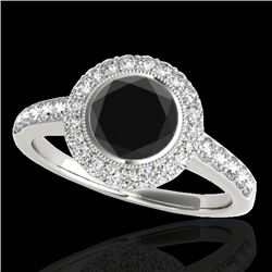 1.5 CTW Certified VS Black Diamond Solitaire Halo Ring 10K White Gold - REF-76K4W - 34444
