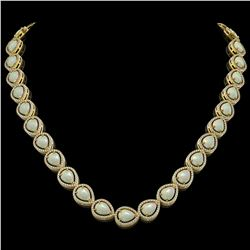 36.48 CTW Opal & Diamond Halo Necklace 10K Yellow Gold - REF-685Y6K - 41203