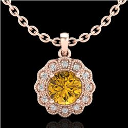 1.15 CTW Intense Fancy Yellow Diamond Art Deco Stud Necklace 18K Rose Gold - REF-218M2H - 37848