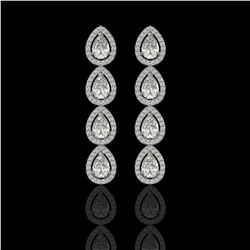 5.22 CTW Pear Diamond Designer Earrings 18K White Gold - REF-969F6N - 42647
