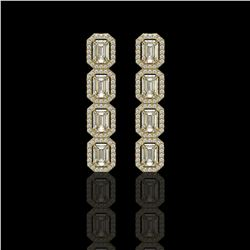5.33 CTW Emerald Cut Diamond Designer Earrings 18K Yellow Gold - REF-1125H6A - 42667
