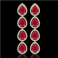 16.01 CTW Ruby & Diamond Halo Earrings 10K Yellow Gold - REF-199A6X - 41287
