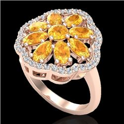 3 CTW Citrine & VS/SI Diamond Cluster Designer Halo Ring 10K Rose Gold - REF-52N2Y - 20776