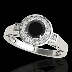 1.5 CTW Certified VS Black Diamond Solitaire Halo Ring 10K White Gold - REF-75N3Y - 34570