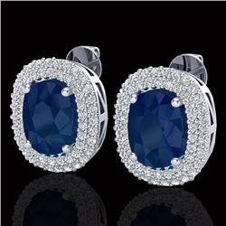 6.30 CTW Sapphire & Micro Pave VS/SI Diamond Halo Earrings 18K White Gold - REF-160N9Y - 20126