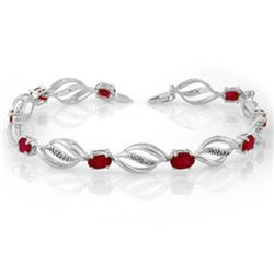 5.10 CTW Ruby & Diamond Bracelet 14K White Gold - REF-89K3W - 10662