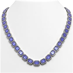 56.69 CTW Tanzanite & Diamond Halo Necklace 10K White Gold - REF-1356A4X - 41339