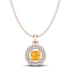 0.38 CTW Citrine & Micro Pave VS/SI Diamond Necklace Halo 14K Rose Gold - REF-24N5Y - 20368