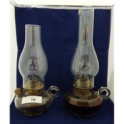 TWO ANTIQUE FINGER OIL LAMPS