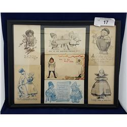 FRAMED ANTIQUE 1910-1914 POST CARDS