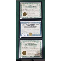 THREE FRAMED STOCK CERTIFICATES