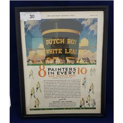 1930 FRAMED DUTCH BOY PAINT AD