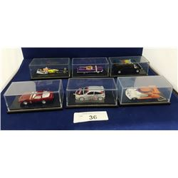 SIX HOTWHEEL COLLECTIBLE DIE CAST CARS IN CASES