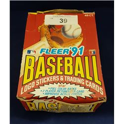 CASE OF 48 UNOPENED 1991 FLEER BASEBALL CARD PACKS