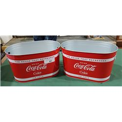 TWO COCA COLA METAL ICE BUCKETS