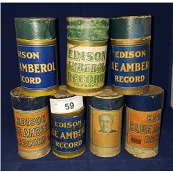 SEVEN ANTIQUE EDISON PHONGRAPH CYLINDER RECORDS