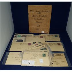 FOURTEEN PIECES OF 1920'S, 30'S, 40'S, & 50'S POSTCARDS & STAMPBOOK