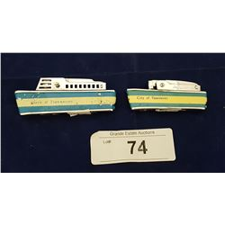 TWO VINTAGE QUEEN OF TSAWWASSEN & CITY OF VANCOUVER FERRY LIGHTERS
