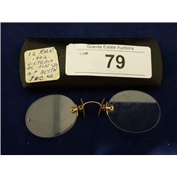 EARLY 1900'S 12KT GOLD EYE GLASSES IN ORIGINAL CASE