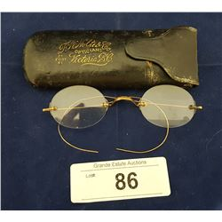 1904 EYE GLASSES IN ORIGINAL LEATHER CASE FROM T.W. NOLTE & CO, VICTORIA BC