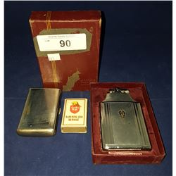 ENGRAVED 1952 RONSON LIGHTER IN BOX, CIGARETTE CASE & VINTAGE CP MATCHES