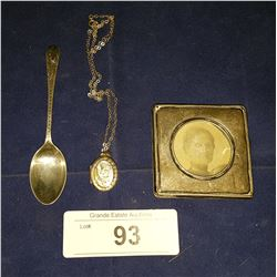 ANTIQUE STERLING SILVER PICTURE FRAME, LOCKET ON ORIGINAL CHAIN, & SPOON